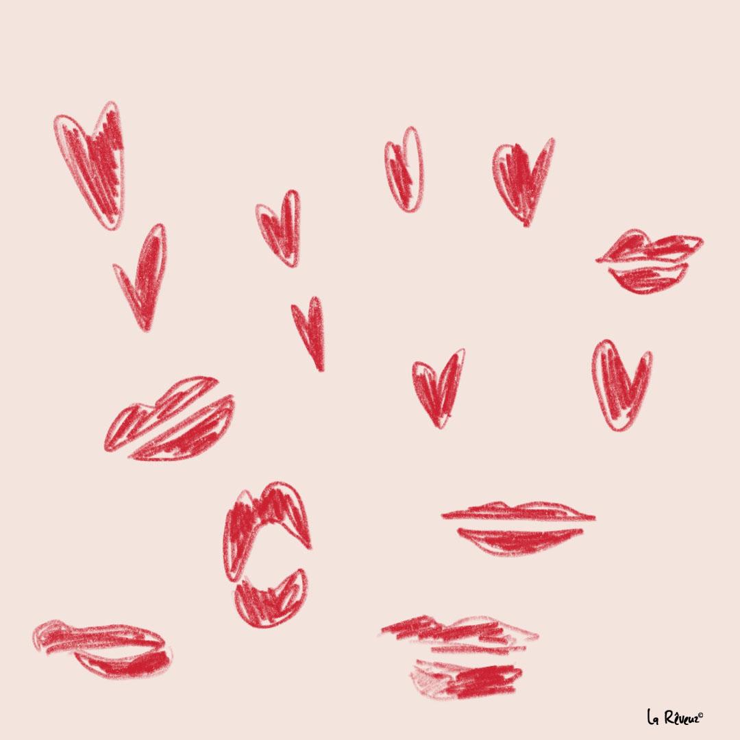 la Reveuz illustration Paris French kiss coeur baiser